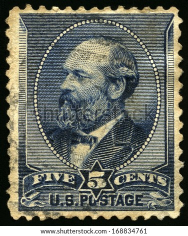UNITED STATES - CIRCA 1880s: Vintage US Postage Stamp celebrating James A. Garfield, the twentieth President of the United States of America, circa 1880s. - stock photo