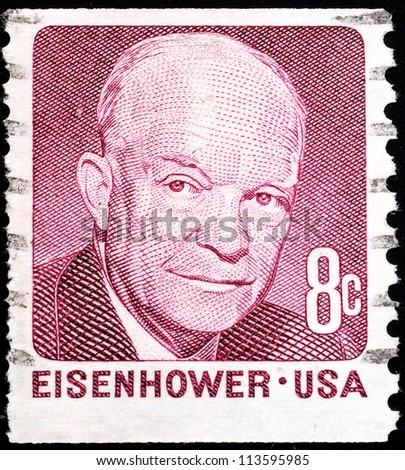 UNITED STATES - CIRCA 1971:  stamp printed by the United States, to honor President Eisenhower, circa 1971