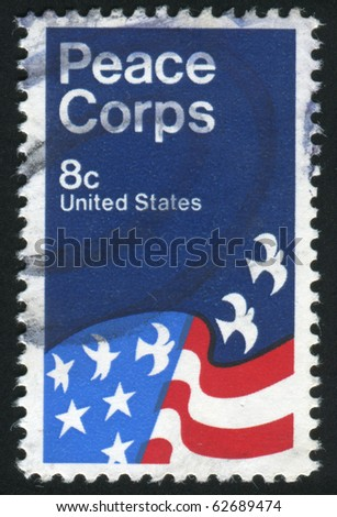 UNITED STATES - CIRCA 1971: stamp printed by United states, American Flag, Peace Corps Poster, by David Battle, circa 1971 - stock photo