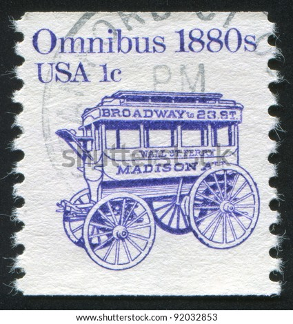UNITED STATES - CIRCA 1982: stamp printed by United States of America, shows retro omnibus, circa 1982 - stock photo