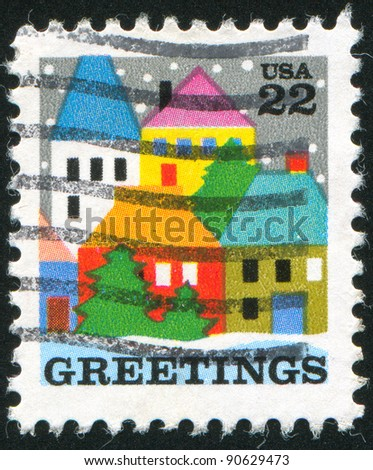UNITED STATES - CIRCA 1986: stamp printed by United States of America, shows village scene, circa 1986 - stock photo