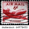 UNITED STATES - CIRCA 1946: stamp printed by United states, shows airplane DC-4, circa 1946. - stock photo