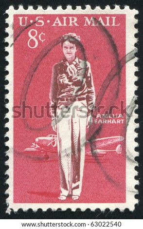 UNITED STATES - CIRCA 1963: stamp printed by United states, shows Amelia Earhart Lockheed Electra, circa 1963 - stock photo