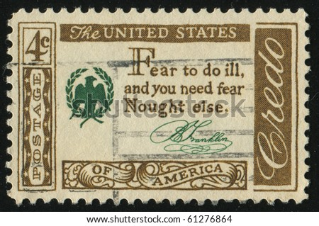 UNITED STATES - CIRCA 1959: stamp printed by United states, shows  Benjamin Franklin Quotation, circa 1959.