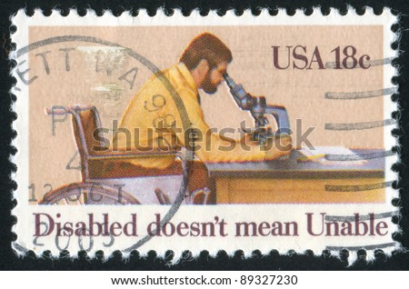 UNITED STATES - CIRCA 1981: stamp printed by United states, shows disabled, circa 1981 - stock photo