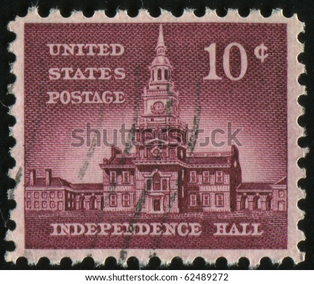 UNITED STATES - CIRCA 1954: stamp printed by United states, shows Independence Hall, circa 1954.