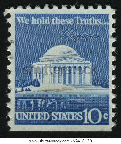 UNITED STATES - CIRCA 1973: stamp printed by United states, shows Jefferson memorial, circa 1973. - stock photo