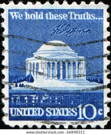 UNITED STATES - CIRCA 1973: stamp printed by United states, shows Jefferson memorial, circa 1973 - stock photo
