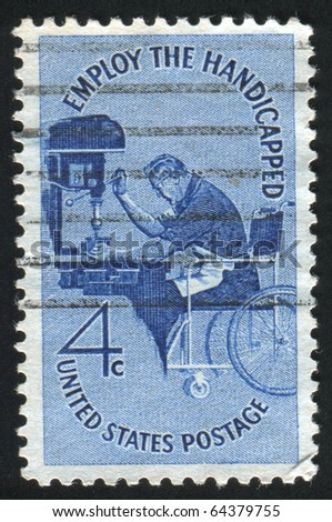 UNITED STATES - CIRCA 1960: stamp printed by United states, shows Man in Wheelchair Operating Drill Press, circa 1960 - stock photo