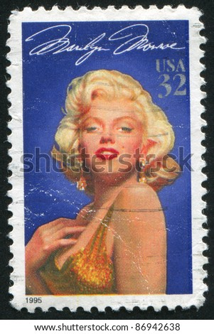 UNITED STATES - CIRCA 1995: stamp printed by United states, shows Marilyn Monroe, circa 1995 - stock photo