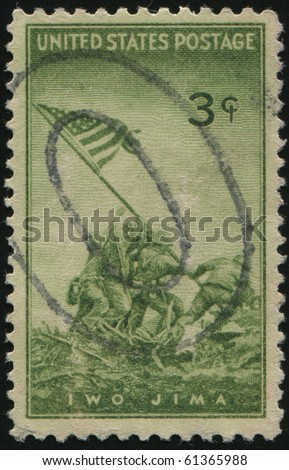 UNITED STATES - CIRCA 1945: stamp printed by United states, shows  Patrick Henry Quotation, circa 1945. - stock photo