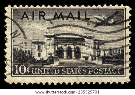 UNITED STATES - CIRCA 1947: stamp printed by United states, shows plane Martin 202 over Pan American Union Building, Washington DC, circa 1947