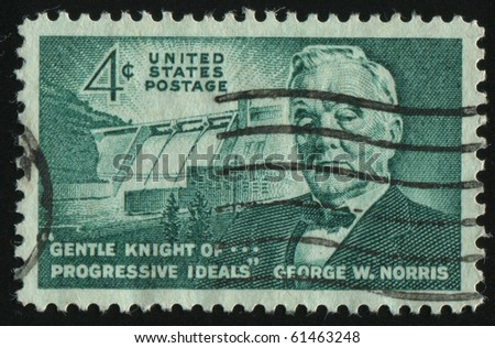 UNITED STATES - CIRCA 1961: stamp printed by United states, shows  Senator George W. Norris, circa 1961.