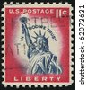 UNITED STATES - CIRCA 1954: stamp printed by United states, shows Statue of Liberty, circa 1954. - stock photo