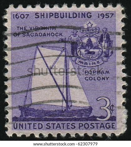 UNITED STATES - CIRCA 1957: stamp printed by United states, shows Virginia of Sagadahock and Seal of Maine, circa 1957.