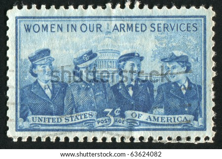 UNITED STATES - CIRCA 1952: stamp printed by United states, shows Women of the Marine Corps, Army, Navy and Air Force, circa 1952 - stock photo