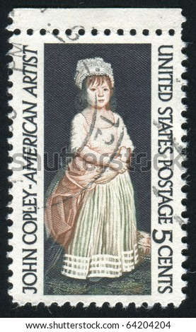 UNITED STATES - CIRCA 1965: stamp printed in United states, shows Elizabeth Clarke by John Copley, circa 1965