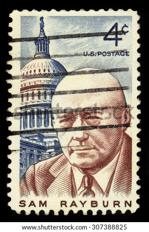 "UNITED STATES - CIRCA 1962: stamp printed in United states, shows Samuel Taliaferro ""Sam"" Rayburn (January 6, 1882 â?? November 16, 1961) was a democratic lawmaker from Bonham, Texas, circa 1962 - stock photo"