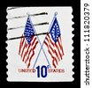"UNITED STATES - CIRCA 1973: stamp printed in United states (USA), shows image of 50-Star and 13-Star American Flag, without inscription, from series ""Flag Issue"", circa 1973 - stock photo"