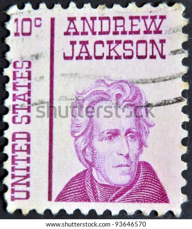 UNITED STATES - CIRCA 1965: stamp printed in USA shows Andrew Jackson, circa 1965