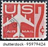 UNITED STATES - CIRCA 1958: stamp printed in USA shows Silhouette of Jet Airliner, circa 1958 - stock photo