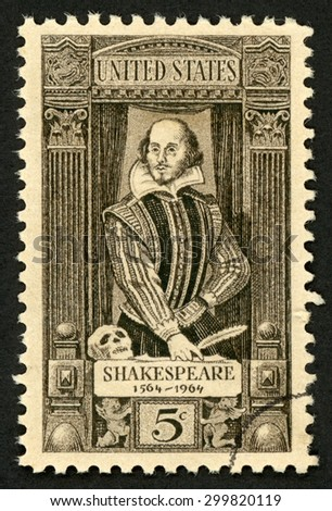UNITED STATES - CIRCA 1964: stamp printed in USA (US) shows William Shakespeare; English poet playwright actor writer; 400th birth anniversary (1564-1616); Scott 1250 A682 5c black brown; circa 1964