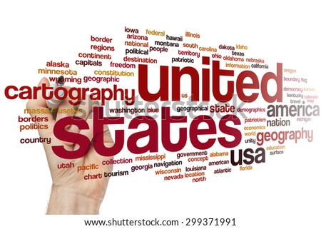 United states concept word cloud background - stock photo