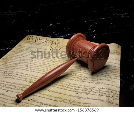 United States Constitution and Gavel 1,  Constitutional Law - stock photo