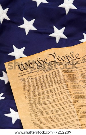 United States Constitution with stars on blue field background - vertical format. - stock photo