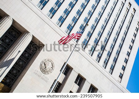United States Court House on a clear hot summer's day in Los Angeles, California, USA - stock photo