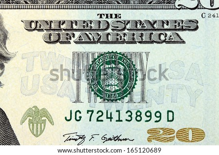 United States Currency Twenty Dollar Bill - stock photo
