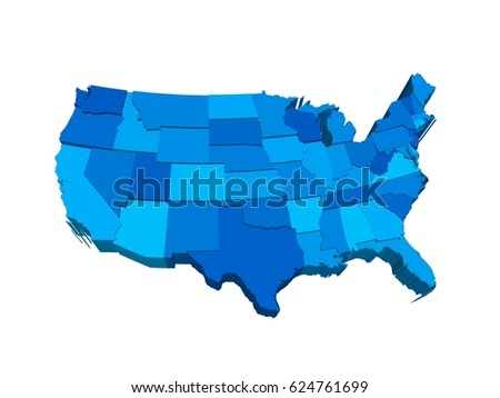 united states 3d map extruded in perspective ilration with separated states of different height
