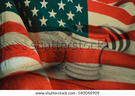 United States Declaration of Independence, gavel and american flag