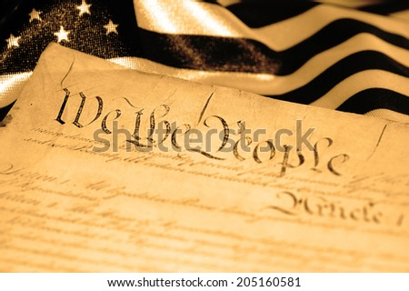 United States Declaration of Independence, sepia tone, SOFT FOCUS - stock photo