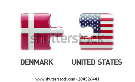 United States Denmark High Resolution Puzzle Concept - stock photo