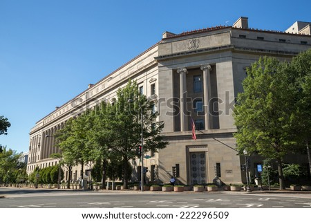 United States Department of Justice headquarter building in Washington D.C.