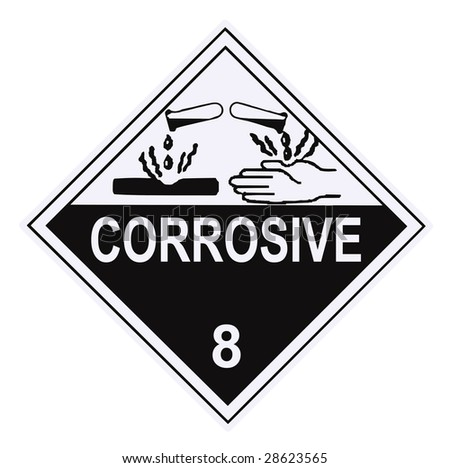 United States Department of Transportation corrosive warning label isolated on white - stock photo