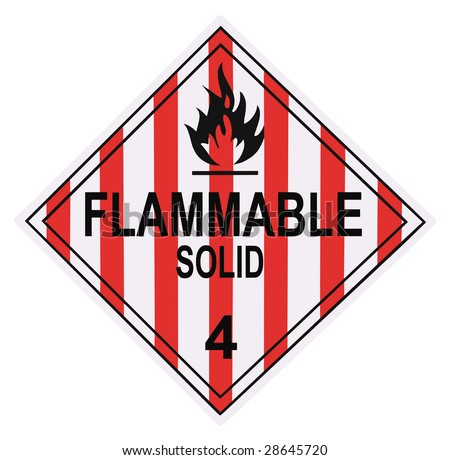United States Department of Transportation flammable solid warning placard isolated on white - stock photo
