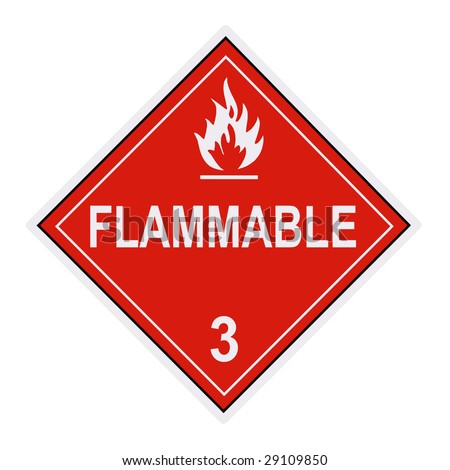 United States Department of Transportation flammable  warning label isolated on white - stock photo