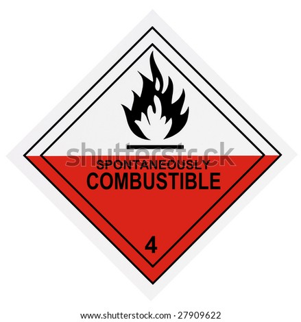 United States Department of Transportation spontaneously combustible warning label isolated on white