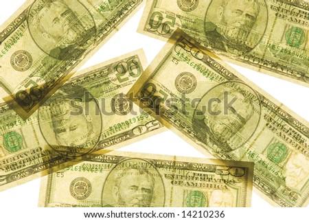 United States 50 dollar bills - stock photo