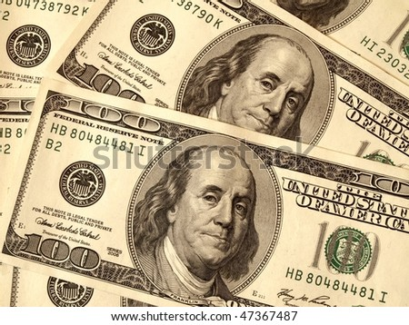 United States Dollar Bills (USD 100) Close Up