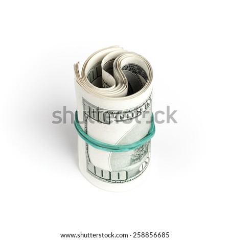 United States dollars, roll of hundred USD banknotes with green rubber isolated on white background with soft shadow. Selective focus - stock photo