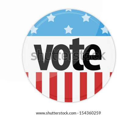 United States Election Vote Button isolated on white