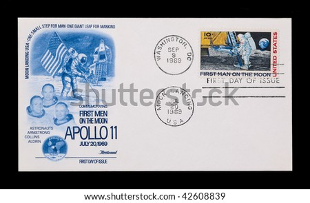 UNITED STATES: first day issue celebrating the Apollo 11 moon landing, circa 1969
