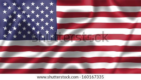 United states flag blowing in the wind. Background texture. - stock photo