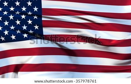United States Flag. 3d illustration - stock photo
