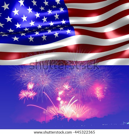 United States flag. Fireworks background for USA Independence Day. Fourth of July celebrate. - stock photo