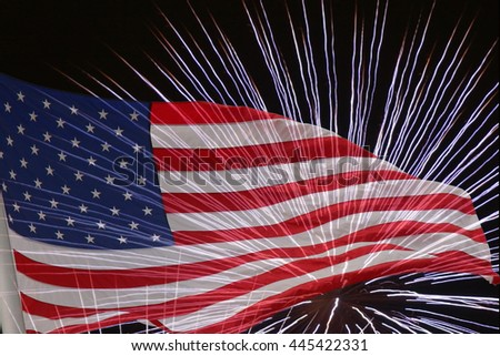 United States flag. Fireworks background for USA Independence Day. Fourth of July celebrate. Independence Day fireworks and flag. USA flag and fireworks. 4th of July background with flag and fireworks - stock photo