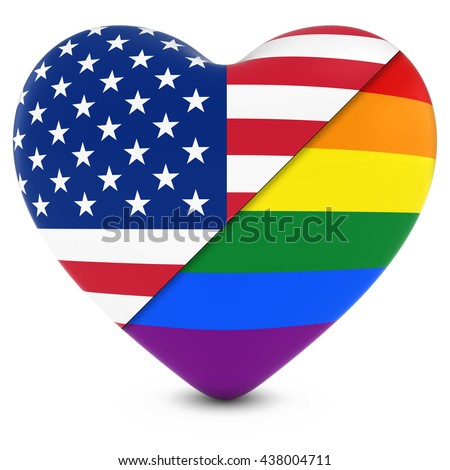 United States Flag Heart Mixed with Gay Pride Rainbow Flag Heart - 3D Illustration - stock photo